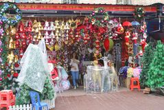 Shop with Christmas decorations sales in Guangzhou China Royalty Free Stock Photography