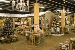 Shop with christmas products royalty free stock photography