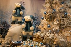 Shop with Christmas tree, decorations and bears in Sant`Elpidio a Mare. For wintertime royalty free stock photos