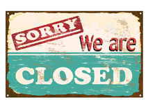 Shop Closed Enamel Sign. Sorry we are closed rusty old enamel sign Royalty Free Stock Photo