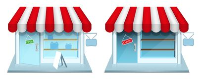 Shop with closed and open door. Vector Icons. Stock Images