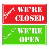 Shop closed and open signs Stock Images