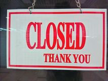 Shop closed sign. Closed sign at the door of a shop Royalty Free Stock Image