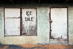 Shop with closed wooden window and door, sign ice for sale royalty free stock image