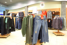Shop with clothes Stock Images
