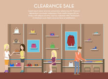 Shop with clothes or store interior clearance sale Royalty Free Stock Photos