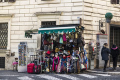 Shop of clothing accessories on a street in Rome, Italy Royalty Free Stock Images