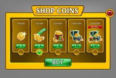 Shop coins panel, game asset with coins icons. Royalty Free Stock Photo