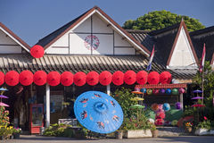 Shop with colored umbrellas in Bo-Sang Royalty Free Stock Image