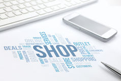 Shop concept word cloud print document, keyboard, pen  Stock Images