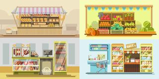Shop counters or store supermarket product display vector flat design Stock Photos