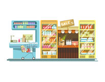 Shop counters of supermarket store product stands vector flat rack displays. Shop counters, grocery store product stands and supermarket or market booth display stock illustration