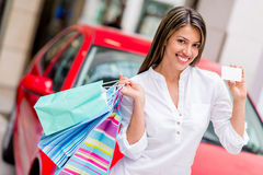 Shop with credit card and win a car Royalty Free Stock Photos