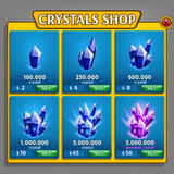 Shop of crystals panel, game asset with mineral icons. Royalty Free Stock Image