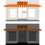 Shop by day and night. Storefront at dusk. Shop window in Sun. S vector illustration