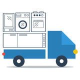 Shop delivery services, truck icon, flat vector Stock Images