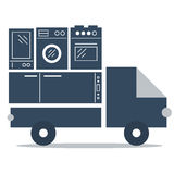 Shop delivery services, truck icon, flat vector Royalty Free Stock Photos