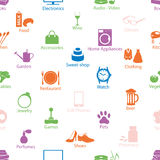Shop department color vectors symbols seamless pattern eps10 Stock Photos