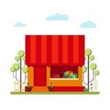 Shop des landwirtschaftlichen Produkts in der flachen Art - vector Illustrationsvorrat Vermarkten Sie Ikone mit den Schaukasten,  Lizenzfreie Stockfotos