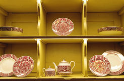 Shop display of pottery Royalty Free Stock Images