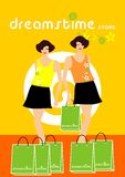 Shop Dreamstime. Illustration of twin sisters shopping in the Dreamstime Store royalty free illustration