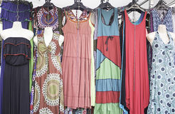 Shop dresses hippies. Shop hippies dressed in urban market, fashion Royalty Free Stock Photos