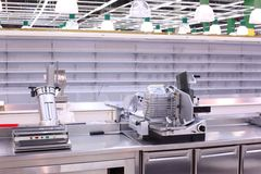 Shop with empty shelves and counters. Modern Shop with empty shelves and counters Stock Photos