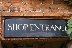 Shop entrance sign Royalty Free Stock Photography
