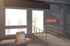 Shop exterior side. Sideview of shop exterior with blank stand. Mock up, 3D Render Royalty Free Stock Photos