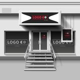 Shop exterior vector template. 3d storefront with entrance door. Illustration of storefront store and shop facade exterior Royalty Free Stock Photos