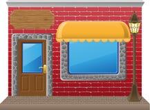 Shop facade with a showcase. Vector illustration Royalty Free Stock Photography