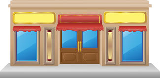 Shop facade with a showcase. Vector illustration Stock Image