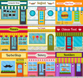 Shop facades and restaurant fronts set. Set of different store fronts in flat style. Vector illustration of city public buildings square architecture Stock Photo