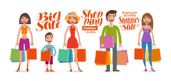 Shop, fashion, sale concept. People, man and woman with bags for shopping. Cartoon vector illustration. Shopping, sale concept. People, man and woman with bags Royalty Free Stock Images