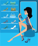 Shop of female footwear Stock Images