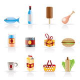 Shop, food and drink icons 1 Royalty Free Stock Images