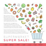 Shop food trolley grocery shop outline illustration. Stock Photography