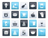 Shop and Foods Icons over color background. Vector Icon Set vector illustration