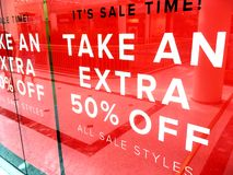It`s SALE /time banner sign. Shop front banner sign advertising a sale 50% off Stock Photos