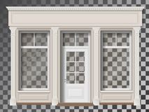 Shop front with column transparent window. Traditional small shop facade with large window and columns. Front view. Showcase with transparent glass, easily vector illustration