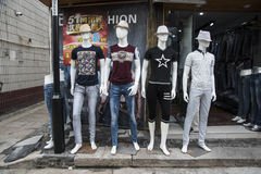 Shop front fashion mannequins Royalty Free Stock Images