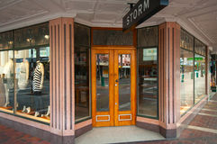 Shop frontage on an Art Deco building in Napier Stock Photo