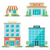 Shop fronts. Vector illustration of different types of buildings: cafe, store, hotel, bank. Isolated on white background. Flat design style. Eps 10 Royalty Free Stock Photos