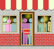 Shop Full of Shoppers. An illustration of Shop Filled with Shoppers Stock Photo