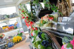 Shop with funeral flowers. Funeral stock images