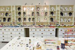 Shop furnishing with jewelry. Shop furnishing with different jewelry decoration on display stock images