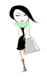 Shop girl. Fashion girl with bag, Vector Art vector illustration