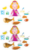 Shop girl and foodstuffs Stock Photography