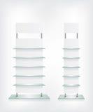 Shop glass shelves white Royalty Free Stock Photo