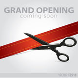 Shop grand opening - cutting red ribbon Royalty Free Stock Photos